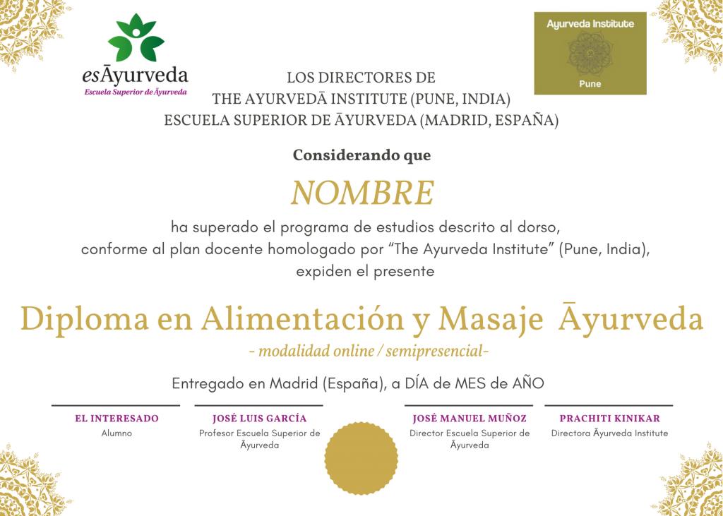 Dudas sobre el Diploma en Alimentación y Masaje Ayurveda modalidad online/semipresencial