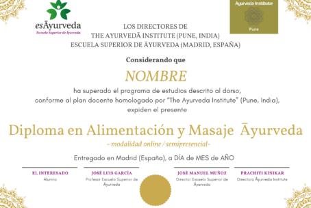 Diploma en Alimentación y Masaje Āyurveda online/semipresencial